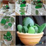 ¡Bonitos falsos cactus! Original maceta con cactus realizado con piedras