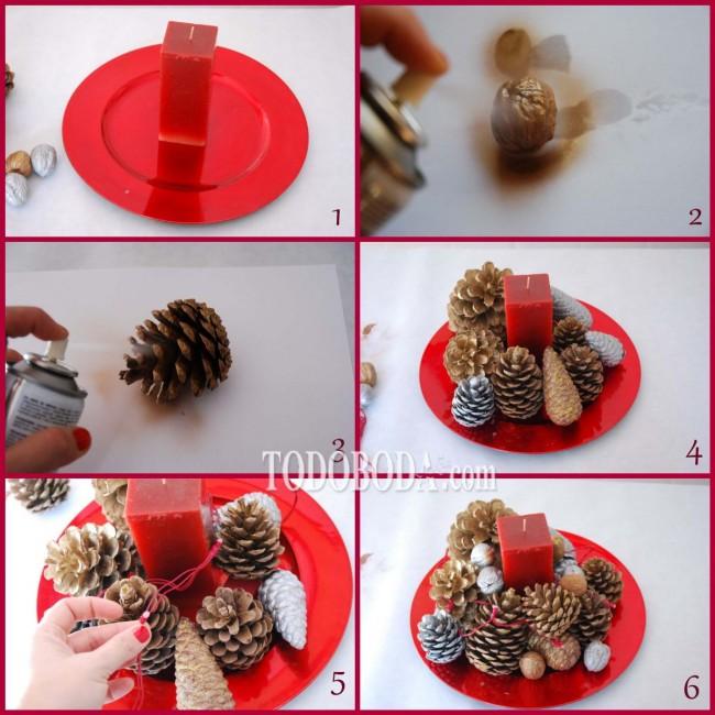 Centros de mesa con pi as y vela para decoraci n de for Centros de mesa con pinas