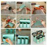 Original organizador de cubiertos portátil realizado con material reciclable
