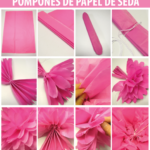 Coloridos pompones de papel de seda para decorar fiestas