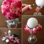 Centros de mesa confeccionados con rosas artificiales