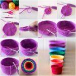 Coloridas y tejidas cubre macetas en crochet