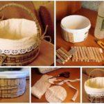 Para el baño: canasta rustica con materiales reciclados