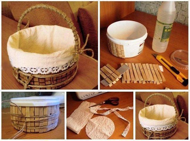 Para el ba o canasta rustica con materiales reciclados for Como hacer una zapatera de madera paso a paso