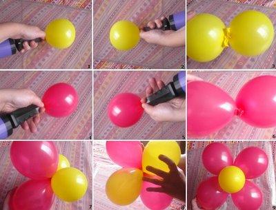 Flor con globos para decorar