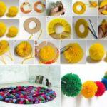 ¡Dale alegría a la primavera! Guirnalda y alfombra de pompones para decorar el hogar