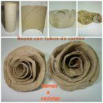 Paso a paso para hacer rosas con tubos de cartón reciclados