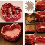 Canasta con forma de corazón realizada con cartón y lana para regalar a tu pareja