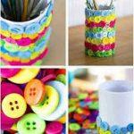 ¡Oficinas coloridas! Lapicero realizado con botones de colores