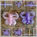 Mariposas realizadas con cinta de raso y cinta de organza para hebillas