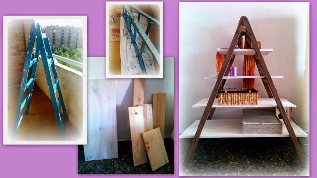 C mo convertir una vieja escalera en una estanter a til - Mesa dibujo ikea ...