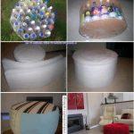¡Recicla y decora! Puf realizado con material reciclable ( botellas de gaseosa de plástico)