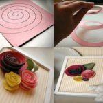 Flores de papel en forma espiral para renovar cuadros