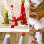 Navidad llena de colores: Árbol Navideño realizado con lana y botones