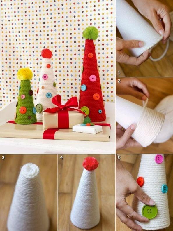 DIY, Arbol de Navidad con Lana y Botones1