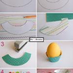 DIY fiestas: posa huevos realizados con cartulinas con diferentes diseños