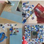 Marco de fotos colorido y artesanal con cartón reciclado