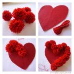 Corazón con pompones para utilizar como aplique de almohadón