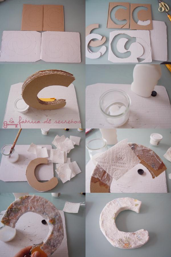 C mo hacer letras para decorar con papel mache y cart n como hacer todo - Letras para paredes infantiles ...