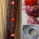 Corazones de lana para hacer una original adorno para decorar el hogar