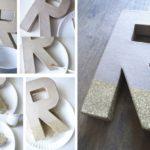 Letras para decorar cubiertas con purpurina plateada: paso a paso