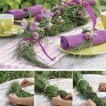 Trenza con junco y flores para decorar una mesa campestre