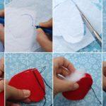 Corazones a tu vida: Simples pasos para hacer un corazón de fieltro con relleno para decoración