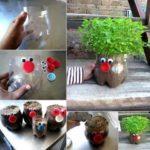 Maceta reciclada y divertida con botella de plástico para decorar tu huerta o jardín