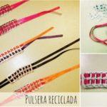 Paso a paso para confeccionar una pulsera con cintas de colores y anillos de refrescos
