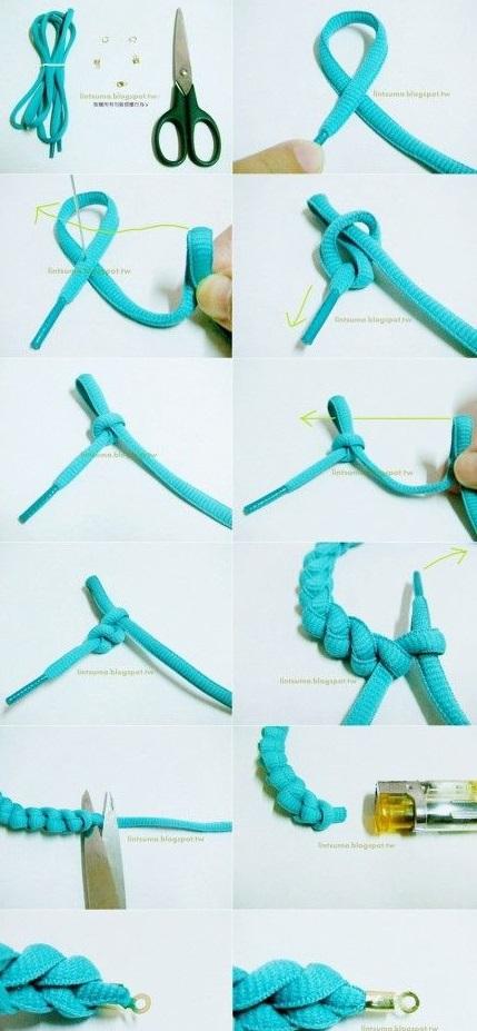 Novedosa y colorida pulsera realizada con cordones en - Como hacer color turquesa ...